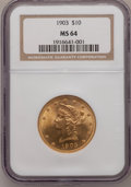 Liberty Eagles: , 1903 $10 MS64 NGC. NGC Census: (50/9). PCGS Population (49/2).Mintage: 125,800. Numismedia Wsl. Price for problem free NGC...