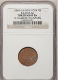 Medals And Tokens, (1861-65) Token New York MS64 BN NGC. Ex:A.Gavron Sausages. F-630AB-8a. (#...