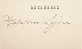 Autographs:Index Cards, 1930's Napoleon Lajoie Signed Index Card....