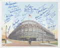 Baseball Collectibles:Others, . Brooklyn Dodgers Multi Signed Ebbets Field Lithograph - 47Signatures!...