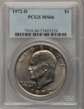 Eisenhower Dollars: , 1972-D $1 MS66 PCGS. PCGS Population (294/5). NGC Census: (299/4). Mintage: 92,548,512. Numismedia Wsl. Price for problem f...