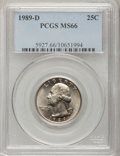 Washington Quarters: , 1989-D 25C MS66 PCGS. PCGS Population (81/4). NGC Census: (23/0).Mintage: 896,535,616. Numismedia Wsl. Price for problem f...