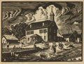 Texas, OLIN TRAVIS (American, 1888-1975). School House - St. Paul,Ark. Linoleum-cut print on paper. 9-1/2 x 12-1/2 inches (24....