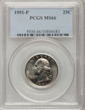 Washington Quarters: , 1991-P 25C MS66 PCGS. PCGS Population (99/9). NGC Census: (19/12).Mintage: 570,968,000. (#5930)...