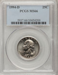 Washington Quarters: , 1994-D 25C MS66 PCGS. PCGS Population (46/3). NGC Census: (22/4).Mintage: 880,034,112. Numismedia Wsl. Price for problem f...