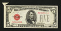 Error Notes:Attached Tabs, Fr. 1528 $5 1928C Legal Tender Note. Choice About Uncirculated.....