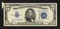 Error Notes:Attached Tabs, Fr. 1651 $5 1934A Silver Certificate. Very Choice CrispUncirculated.. ...