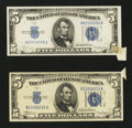 Error Notes:Attached Tabs, Fr. 1651 $5 1934A Silver Certificates. Two Examples. Choice About Uncirculated.. ... (Total: 2 notes)