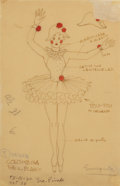 Fine Art - Work on Paper:Drawing, ROBERTO MONTENEGRO (Mexican, 1885-1968). Colimbina Todo enBlanco, costume design illustration. Mixed media on vellum,m...