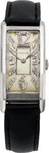 Timepieces:Wristwatch, Longines Diamond Dial Platinum Wristwatch, circa 1940's. ...