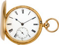 Timepieces:Pocket (pre 1900) , John Leslie London Gold Lever Fusee With 1876 Canadian GovernmentHeroism Presentation. ...