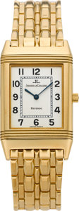 Timepieces:Wristwatch, Jaeger LeCoultre 250.1.88 Gold Reverso With Gold Bracelet, circa1980's. ...