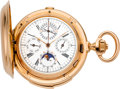 Timepieces:Pocket (pre 1900) , Swiss Extremely Fine & Massive 18K Rose Gold Minute Repeating Watch With Chronograph, Perpetual Calendar And Moon Phases Made ...