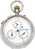 Timepieces:Pocket (pre 1900) , Swiss Very Rare Triple Split Seconds Chronograph With Register,circa 1890's. ...