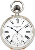 Timepieces:Pocket (post 1900), August Ericsson Fine Silver & Gold Detent Pocket Chronometer ByUlysse Nardin, circa 1900. ...