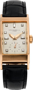 Timepieces:Wristwatch, Patek Philippe Ref. 425 Very Fine Pink Gold Rectangular WristwatchWith Diamond Dial, circa 1941. ...