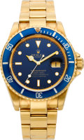 Timepieces:Wristwatch, Rolex Ref. 16808 Gold Submariner With Gold Bracelet, circa 1980. ...