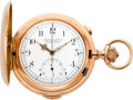 Timepieces:Pocket (pre 1900) , Audemars Freres Rose Gold Quarter Repeater With Chronograph, circa1895. ...