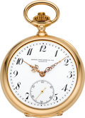 Timepieces:Pocket (post 1900), Patek Philippe & Cie Rare & Very Fine Gold Trip MinuteRepeater, Two Train Tandem Wind Pocket Watch, circa 1904. ...