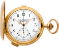 Timepieces:Wristwatch, Swiss Large Gold Minute Repeater With Chronograph, circa 1905. ...