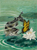 Mainstream Illustration, JACOB BATES ABBOTT (American, 1895-1950). Fish andSwallowtail. Gouache on board. 16.5 x 12.5 in.. Signed centerright. ...