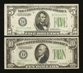 Error Notes:Error Group Lots, Fr. 1958-D $5 1934B Federal Reserve Note. Very Fine-ExtremelyFine.. Fr. 2006-D $10 1934A Federal Reserve Note. Choice Cri...(Total: 2 notes)