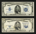Error Notes:Obstruction Errors, Fr. 1650 $5 1934 Silver Certificate. About Uncirculated.. Fr. 1653$5 1934C Silver Certificate. Very Fine+.... (Total: 2 notes)