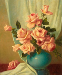 A. D. GREER (American, 1904-1998) Still life with Roses Oil on canvas 24 x 20 inches (61.0 x 50.8
