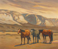 Paintings, HOWARD POST (American, b. 1948). Horses. Oil on canvas. 20 x 24 inches (50.8 x 61.0 cm). Signed lower right: H E Post...