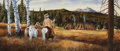 Western:20th Century, JOHN DEMOTT (American, b. 1954). Friendly Visit. Mixed media on board. 13 x 31 inches (33.0 x 78.7 cm). Titled and signe...
