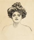 Pin-up and Glamour Art, CHARLES DANA GIBSON (American, 1867-1944). Portrait of a YoungGibson Girl. Pen and ink on board. 20 x 18 in.. Signed lo...