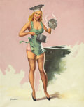 Pin-up and Glamour Art, PAUL CERNIA (American, 20th Century). High Pressure Cooker.Oil on canvas. 28 x 22 in.. Signed lower left. ...