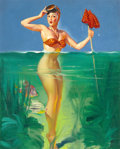 Pin-up and Glamour Art, GIL ELVGREN (American, 1914-1980). Surprising Catch, Brown andBigelow calendar illustration, 1952. Oil on canvas. 30 x ...