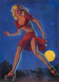 ZOE MOZERT (American, 1904-1993) Moonlit Escapade Pastel on board 23.5 x 17 in. Signed lower r