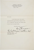 Autographs:U.S. Presidents, Harry S Truman: Charming 1953 Typed Letter Signed with Seven WordPostscript in His Hand. ... (Total: 2 Items)