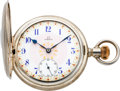 Timepieces:Pocket (post 1900), Omega Sterling Demi-Hunter With Fancy Dial, circa 1905. ...