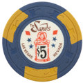 Miscellaneous:Gaming Chips, Sands $5 Las Vegas Casino Chip, Ninth Issue, R-9, Circa Late1950s....