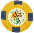 "Miscellaneous:Gaming Chips, Sands $5 Las Vegas Casino Chip, ""A Place in the Sun,"" EleventhIssue, R-7, Circa 1965...."