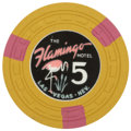Miscellaneous:Gaming Chips, Flamingo $5 Las Vegas Casino Chip, Fifth Issue, R-8, Circa1950s....