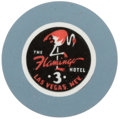 Miscellaneous:Gaming Chips, Flamingo 3 Las Vegas Roulette Chip, Fourth Issue, R-7, Circa Late1940s. ...