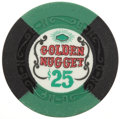 Miscellaneous:Gaming Chips, Golden Nugget $25 Las Vegas Casino Chip, Eighth Issue, R-9, Circa 1960s....