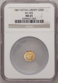 California Fractional Gold: , 1867 50C Liberty Octagonal 50 Cents, BG-905, Low R.5, MS65 NGC. NGCCensus: (1/3). PCGS Population (8/6). (#10763)...