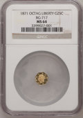 California Fractional Gold: , 1871 25C Liberty Octagonal 25 Cents, BG-717, R.3, MS64 NGC. NGCCensus: (9/13). PCGS Population (62/72). (#10544)...