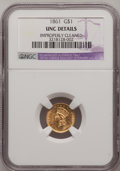 Gold Dollars: , 1861 G$1 --Improperly Cleaned--NGC Details. Unc. NGC Census:(30/922). PCGS Population (32/697). Mintage: 527,499. Numismedi...