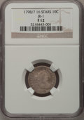 Early Dimes, 1798/97 10C 16 Stars on Reverse Fine 12 NGC....