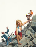 Pulp, Pulp-like, Digests, and Paperback Art, MORT KÜNSTLER (American, b. 1931). Blonde on the Rocks, Mencover, August 1967. Gouache on board. 19 x 15 in.. Signed lo...