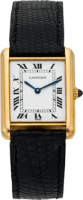 Timepieces:Wristwatch, Cartier Gent's Gold Tank Wristwatch, circa 1978. ...