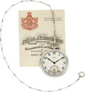 Timepieces:Pocket (post 1900), Jules Jurgensen Platinum Watch With Chain, Original Box &Certificate, circa 1922. ...