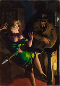 Pulp, Pulp-like, Digests, and Paperback Art, HUGH JOSEPH WARD (American, 1909-1945). Speed Mystery, pulpcover, May 1943. Oil on canvas. 30 x 21 in.. Signed lower le...