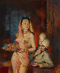 Paintings, RAYMOND JOHNSON (American, 20th Century). Maharajah, paperback cover, c. 1952. Oil on board. 23.5 x 19.5 in.. Signed low...